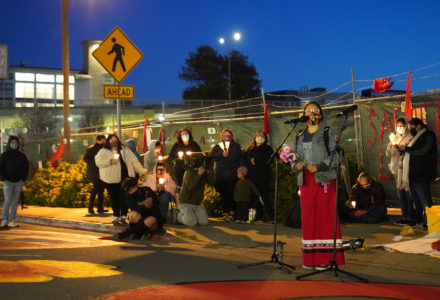 Developers fence Shellmound site, hundreds gather for candlelit vigil